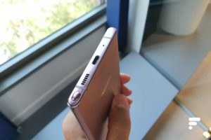 The USB-C port and the S Pen drawer of the Samsung Galaxy Note 20 Ultra