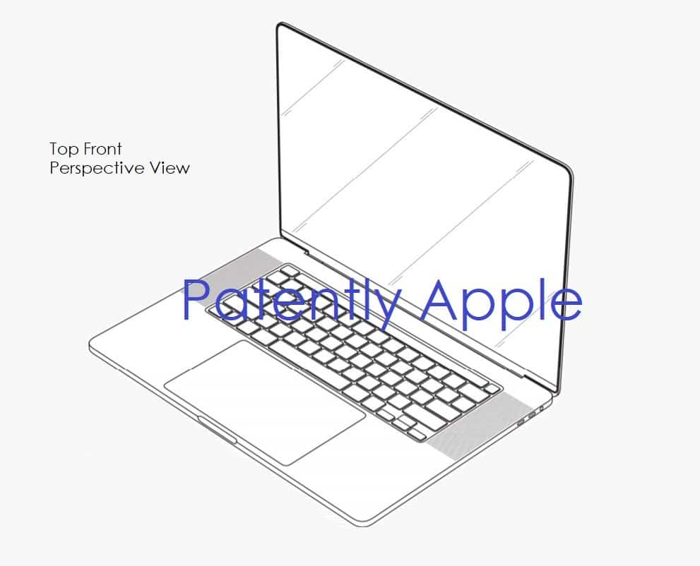 A design patent obtained by Apple for thin edges on a MacBook Pro // Source: Patently Apple