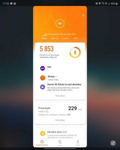 The Xiaomi Mi Fit app on the big screen after being opened on the small screen