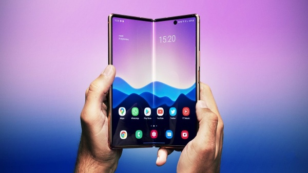The Samsung Galaxy Z Fold 2 held with two hands