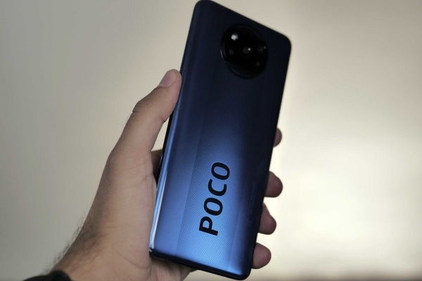 Xiaomi Poco X3 seen from the back