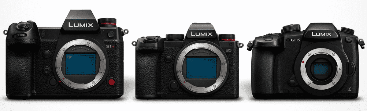 From left to right, the Panasonic Lumix S1H, the Panasonic Lumix S5 and the Panasonic Lumix GH5 // Source: Panasonic