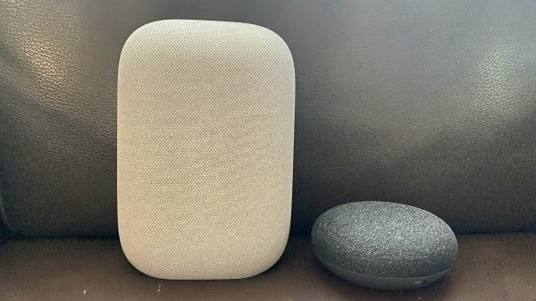 Google Nest Audio (left) and Google Nest mini (right)