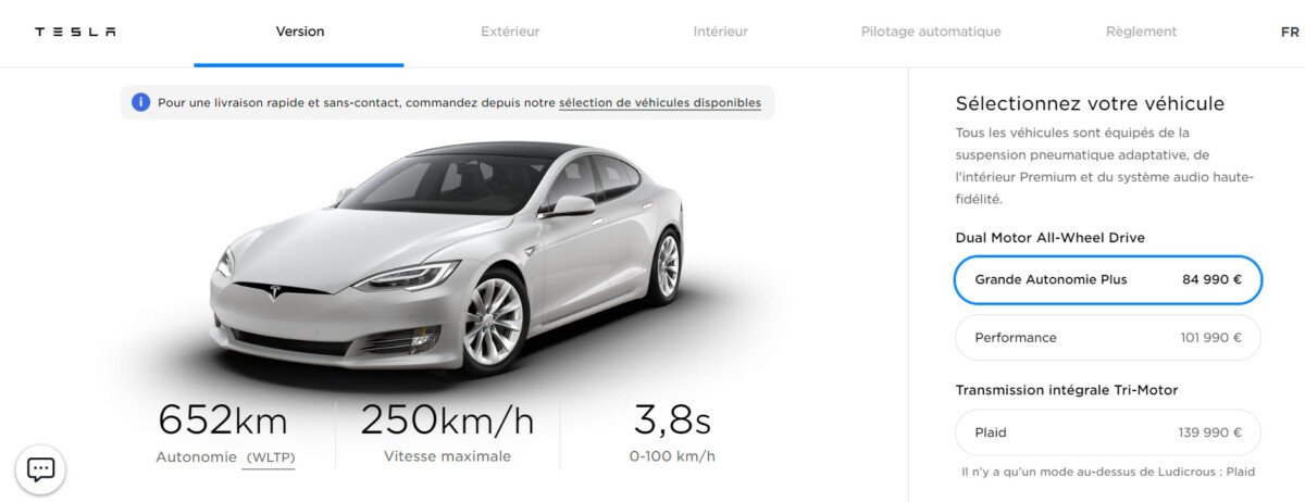 Screenshot of Tesla's configurator