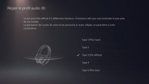 You can choose from 5 3D audio profiles on the PS5