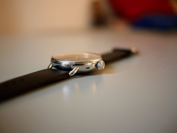 The horns and crown of the Withings ScanWatch