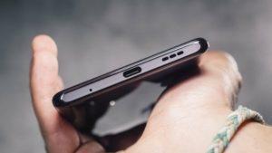 The USB-C port of the Xiaomi Redmi Note 10 Pro